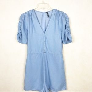 ZARA | Chambray Romper Large  | ruched sleeves